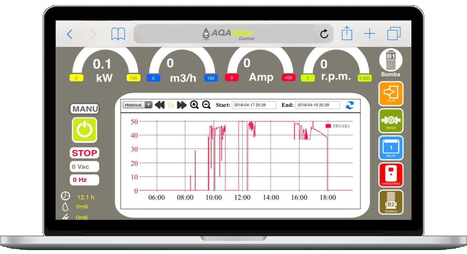 Vista previa Software AQAsolar control